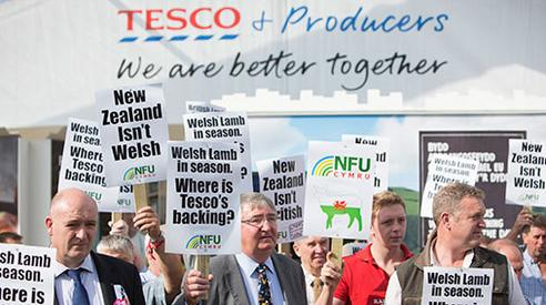 tesco protest sheep farmers