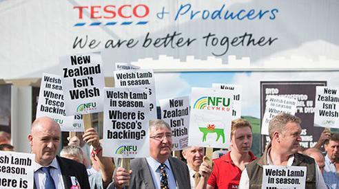 tesco protest sheep farmers